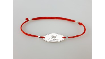 "Bracelet ""Oval with a Name"" with a crown"