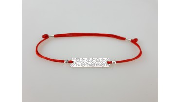 "Bracelet ""Rectangle embroidery"" with floral ornament"
