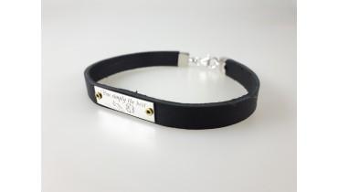 Silver leather bracelet on rivets